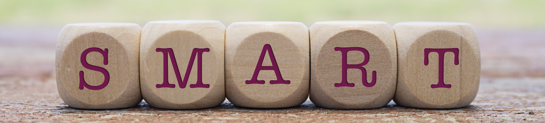 Toy wooden blocks with letters on them that spell SMART